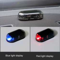 1 par de carro solar led aviso flash luz analógico alarme anti-roubo sistema de iluminação luz de segurança