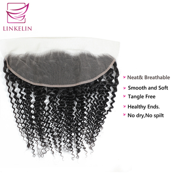 LINKELIN HAIR  Peruvian Kinky Curly Lace Frontal Closure 13*4 Swiss Lace Extension Remy Human Hair Nature Color Free Shipping цена 2017