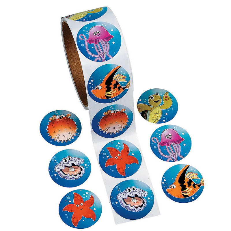 One Roll Creative Adhesive Tape 100pcs Cartoon Ocean Fishes Sticker For Kids Great Gift Colorful Stationery Sticker Toy