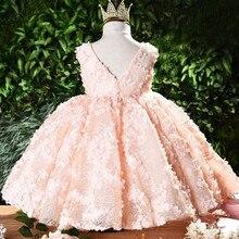 Vestido para meninas, vestido de princesa com laço florido tutu vestido de dama de honra para casamento vestidos de baile