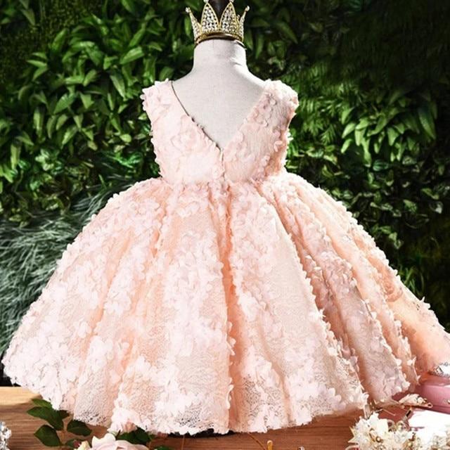 ちょう結び赤ちゃんのプリンセスドレス花レースのチュチュ子供のため bridemaid ドレス結婚式パーティーウエディングドレス