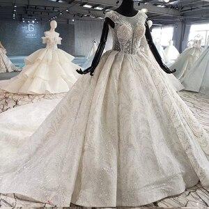 Image 3 - HTL1002 роскошное свадебное платье бохо Иллюзия o образным вырезом без рукавов Кнопка назад аппликации невеста, свадебное платье новый дизайн robe de mariage