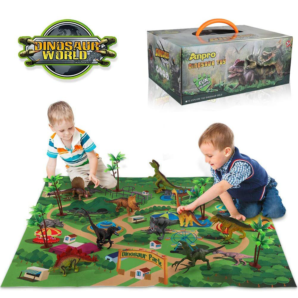 Dinosaur Toys For Boys And Girls 3 Years Old & Up - Pack Of 9 Animal Dinosaur Figures With Playmat  (T-rex, Triceratops, Ect)