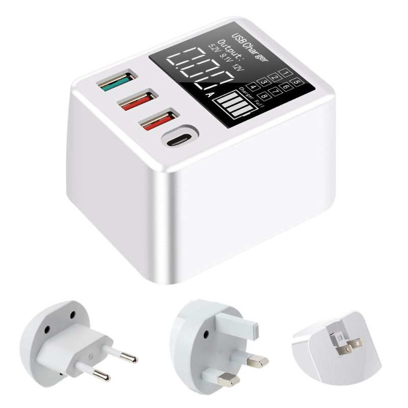<font><b>4</b></font> <font><b>Ports</b></font> <font><b>USB</b></font> <font><b>QC3.0</b></font> Charger Hub Fast Charging Dock Stand with LED Display Screen for Cellphone Smartphone Tablet EU US UK Plug image