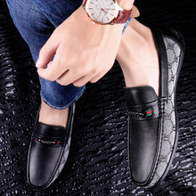 2019 Newest Manual Gentleman Loafers Fashion Mens Dress Shoes Genuine Leather Flats Mens Shoes size 39-44(China)