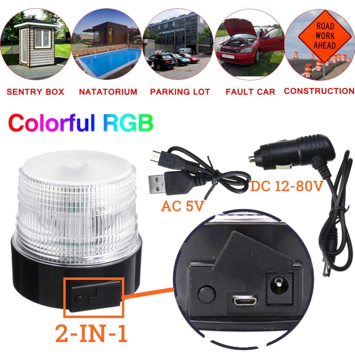 Car LED Strobe Light 8 Colors RGB Wireless Remote Control Car Emergency Beacon Lights Warning Flashing Lamp