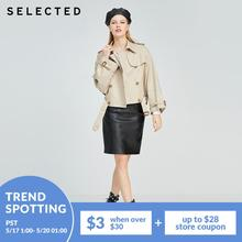 SELECTED Women's 100% Cotton Contrast Stitching British Loose Short Coat R|420121514