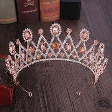 Лидер продаж Bue золото Красные кристаллы стразы Королевский queen и короны, диадемы Noiva невесты свадебная диадема украшения для волос Головные уборы
