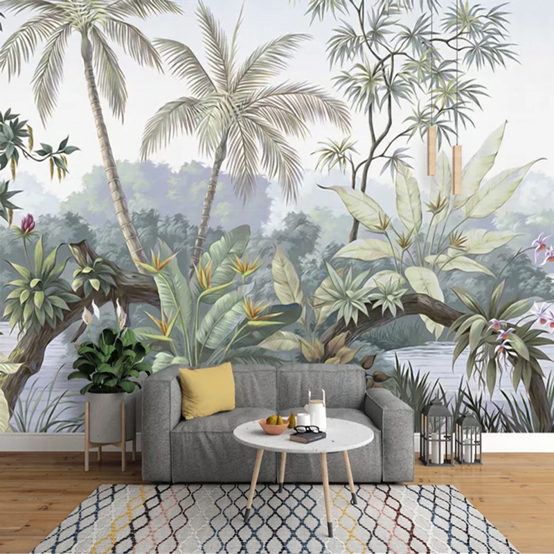 Custom Mural Wallpaper 3D Retro Pastoral Rain Forest Art Wallpaper Living Room TV Sofa Background Wall Painting Papel De Parede