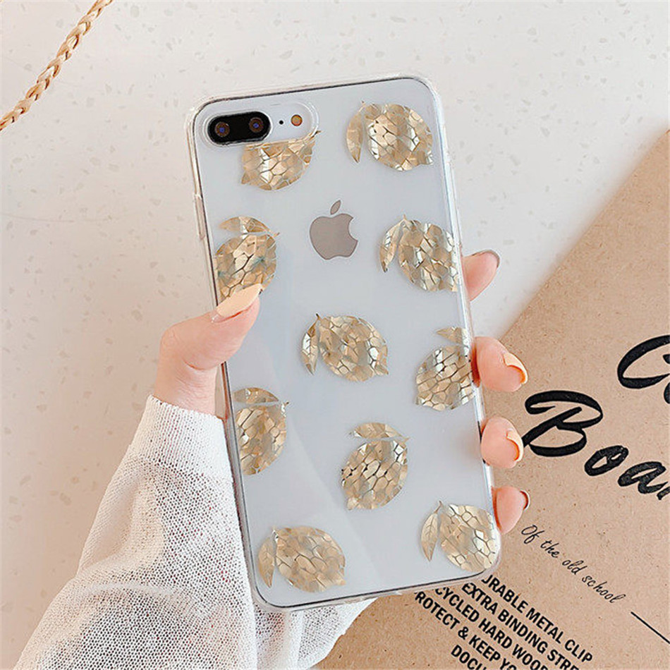 H407ed94ea63b4795906cd60be265fcf5a - USLION Glitter Gold Leaf Transparent Case For iPhone 11 Pro X XS Max XR 8 7 Plus 11 Clear Phone Back Cover Bling Pineapple Cases