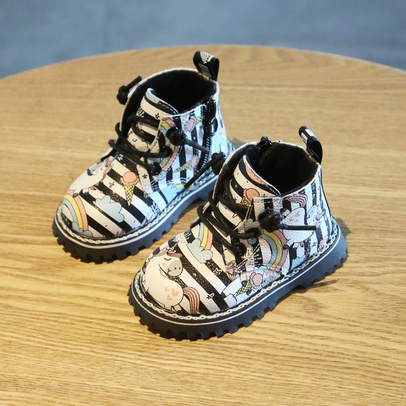 Bottes Martin licorne pour bébé de 0 à 3 ans | Chaussures de dessin animé, bottes de neige en cuir PU, chaudes, pour bébés de 0 à 3 ans