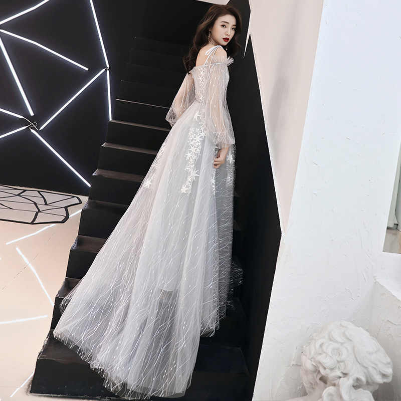 É yiiya vestidos de baile cinza champanhe barco pescoço mangas completas a linha vestido de festa até o chão estrelas plus size vestidos de baile e428