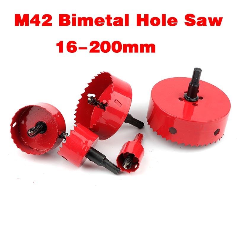 Bi-Metal M42 Wood Hole Saw 16-200mm Steel Drilling Drill Bit Cutter for Aluminum Iron Stainless Steel Plastic Cutter Drill Bits