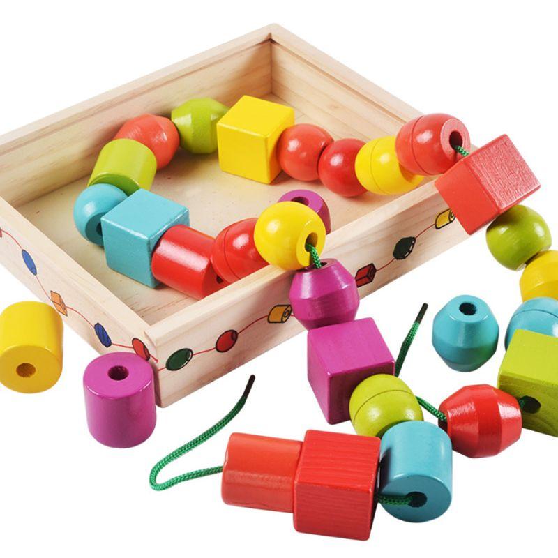 Geometric Shape Wooden Lacing Beads Kids Montessori Blocks Threading Educational Toy Gift For Children