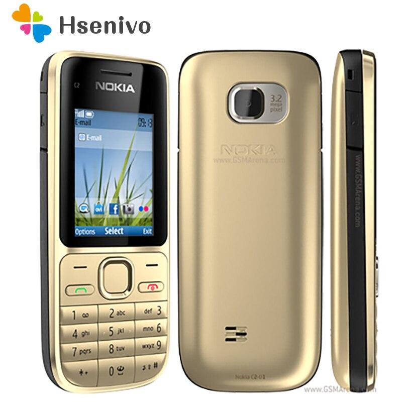Original Nokia C2 C2-01 Gold Unlocked Mobile Phone GSM Refurbished Cellphones& Russian Hebrew Arabic Keyboard