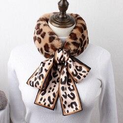 Брендовый женский зимний шарф, корейский Универсальный шерстяной шарф с лентами, цветной Леопардовый бант, студенческий теплый шерстяной в...