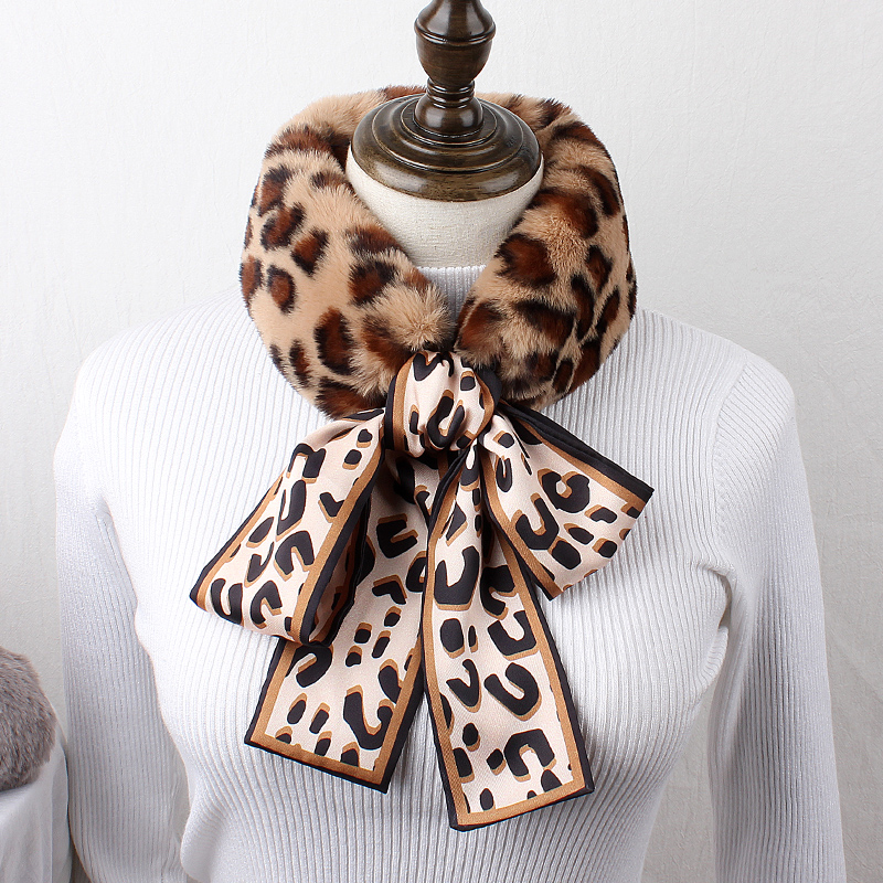 Brand Scarf Bib Women Winter Korean Versatile Ribbon Wool Scarf Color Leopard Bow Student Warm Wool Collar Autumn Winter Gifts