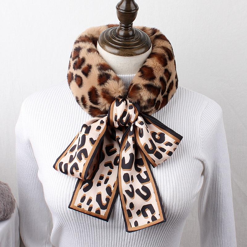 Brand Scarf Bib Women Winter Korean Versatile Ribbon Wool Scarf Color Leopard Bow Student Warm Wool Collar Autumn Winter Gifts