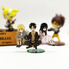 лучшая цена Love Thank You Attack on Titan Eren Mikasa Armin childhood acrylic stand figure model double-side plate holder cake topper anime