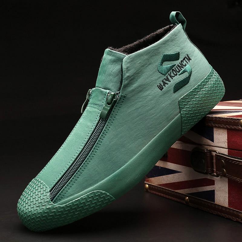 Warm Winter Snow Shoes Fashion Zipper With Fur Shoes Rubber Male Flats Zapatillas Hombre Men Casual Sneaker Shoes A21-97