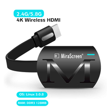 Mirascreen g4 plus 2.4g/5.8g 4k hdmi, sem fio, tv vara miracast airplay para ios e android