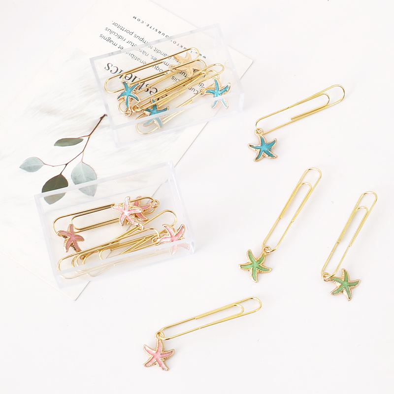 TUTU 5Pcs/box Beautiful Starfish Bookmark Planner Paper Clip Metal Material Bookmarks For Book Stationery School Office H0336