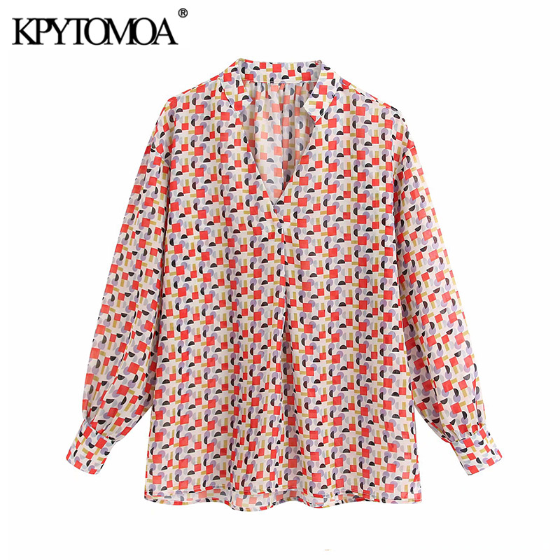 KPYTOMOA Women 2020 Fashion Geometric Print Blouses Vintage V Neck Long Sleeve See Through Female Shirts Blusas Chic Tops