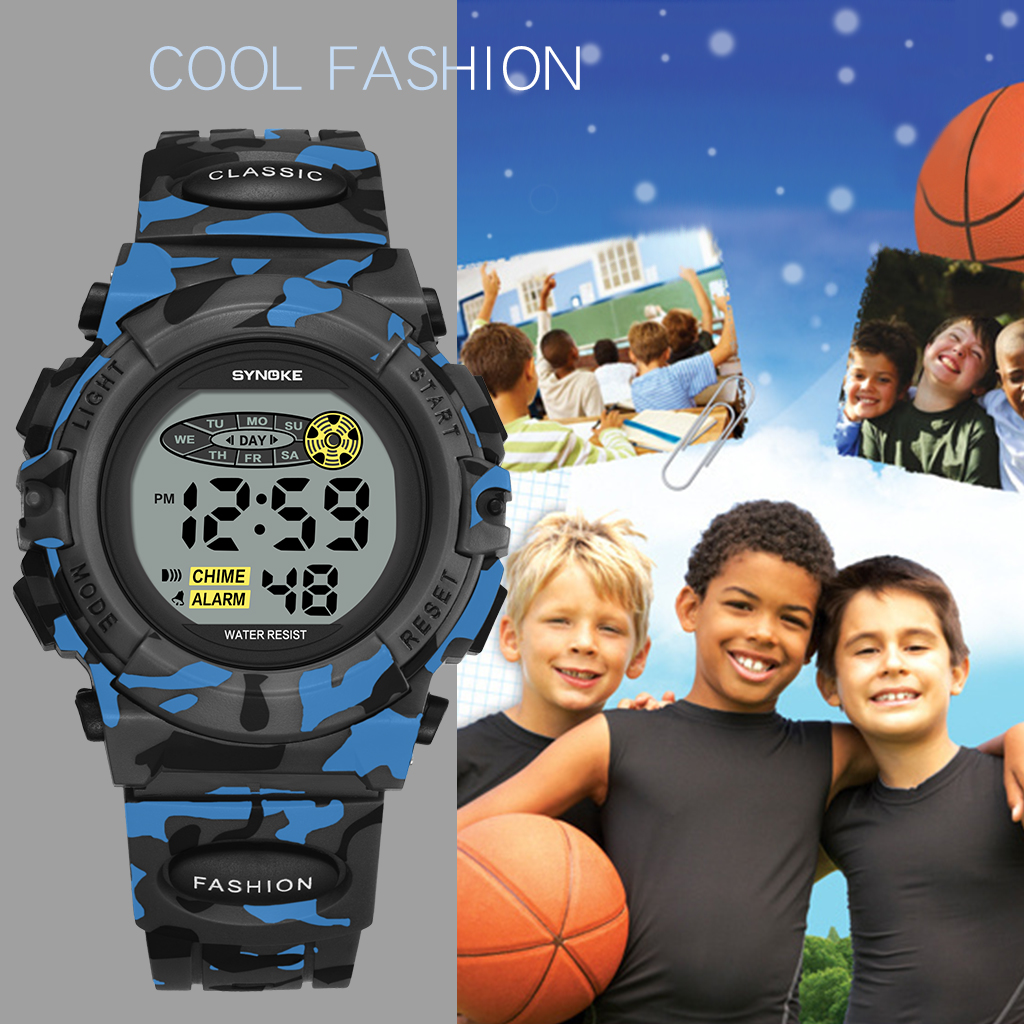New Arrival Kids Child Boy Camouflage Waterproof Watch Multifunction Colorful Luminous Alarm Clock Kids Boys Electronic Watches
