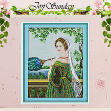 Green Skirt woman Patterns Counted Cross Stitch 11CT 14CT Cr