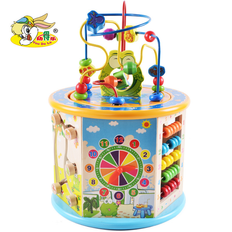Children Building Blocks Toy Large Size Eight In One Multi-functional Bead-stringing Toy Treasure Chest Educational Beaded Brace