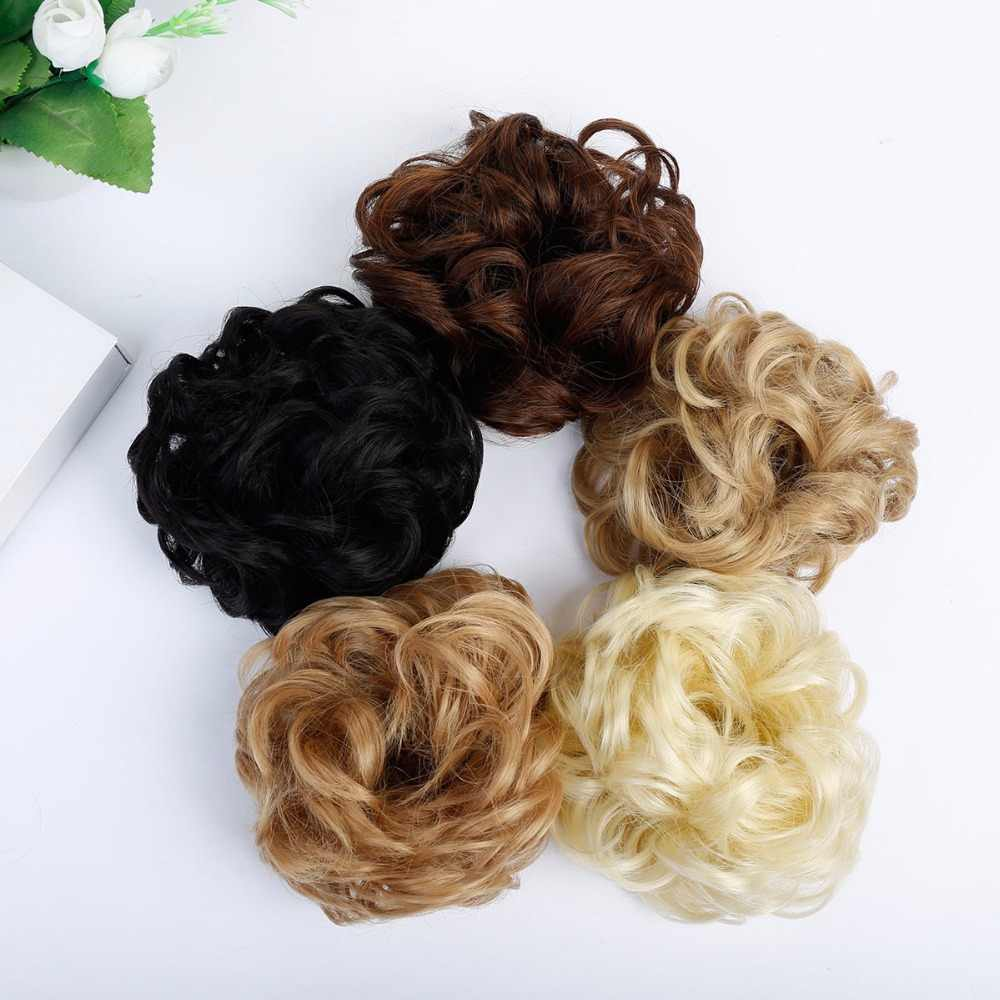 WTB Synthetic Fake Hair Bun Chignons Hairpiece For Women Elastic Scrunchies HairPiece Bun Hair Tail Updo Afro Ponytail Accessory