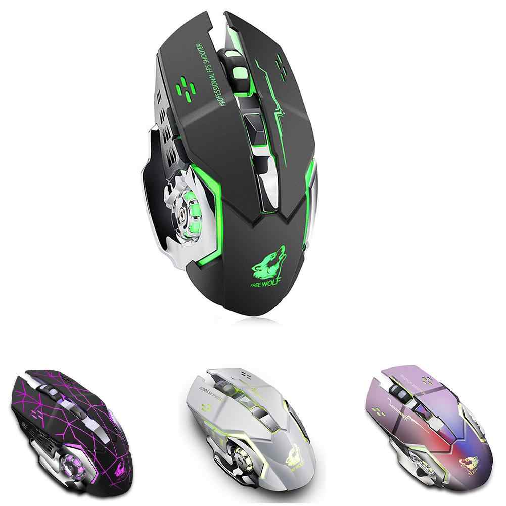 X8 souris sans fil de jeu silencieuse 2.4GHz 1800DPI souris sans fil Rechargeable USB jeu optique rétro-éclairage souris pour ordinateur portable