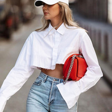 2021 spring new style pure cotton short long-sleeved design white shirt temperament foreign trade blouse sexy women's clothing