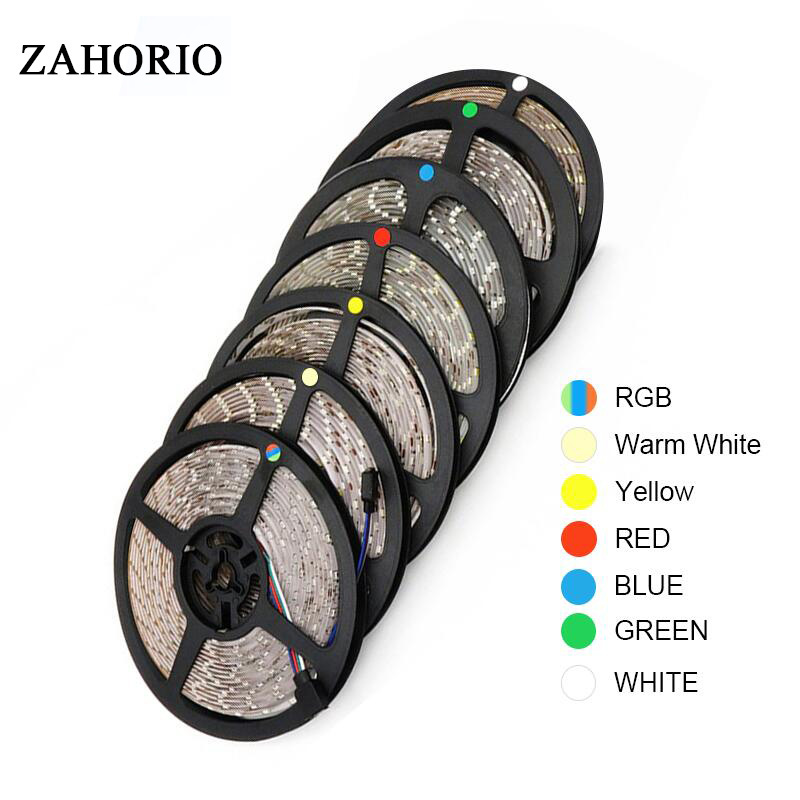 RGB 300 LED Strip Light 5m 60LEDs/m SMD 2835 White Warm White Red Green Blue LED Strip 12V Waterproof Flexible Tape Rope Stripe