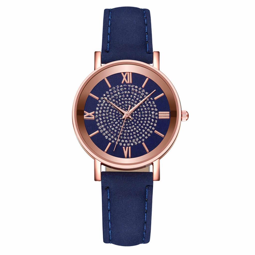 جديد فاخر حجر الراين ساعات كوارتز الأزرق stap الفولاذ المقاوم للصدأ الهاتفي عادية سوار ساعة السيدات ساعة اليد Relogio Feminino 717