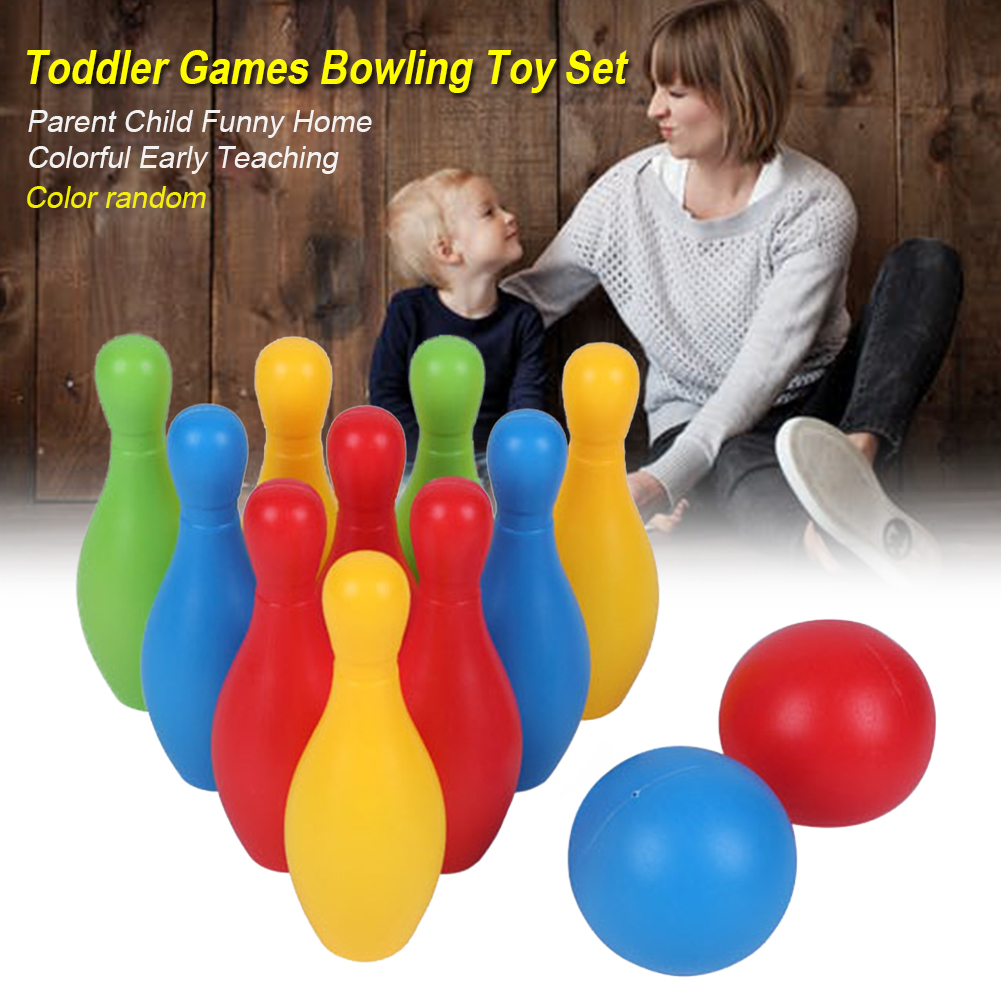 Bowling Toy Set Toddler Colorful Games Home Early Teaching Educational Smooth Funny Non Toxic Sports Indoor Outdoor Kindergarten