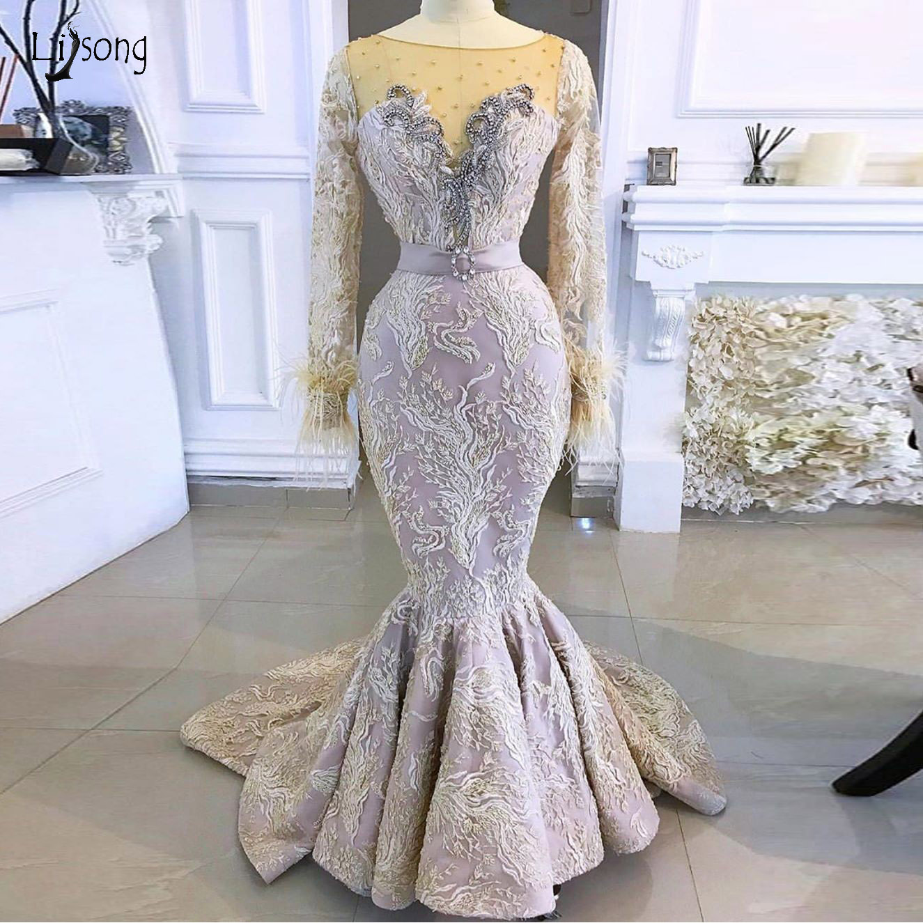 Elegant Lace Mermaid Evening Dresses Full Sleeves Beaded Feather Long Prom Gowns Crystal Formal Party Dresses Robe De Soiree