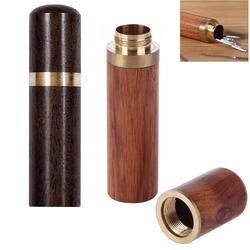 Agulhas de costura à mão tubo de armazenamento caixa de madeira diy ferramentas de tricô de couro agulha sândalo agulha titular ferramentas de armazenamento novo