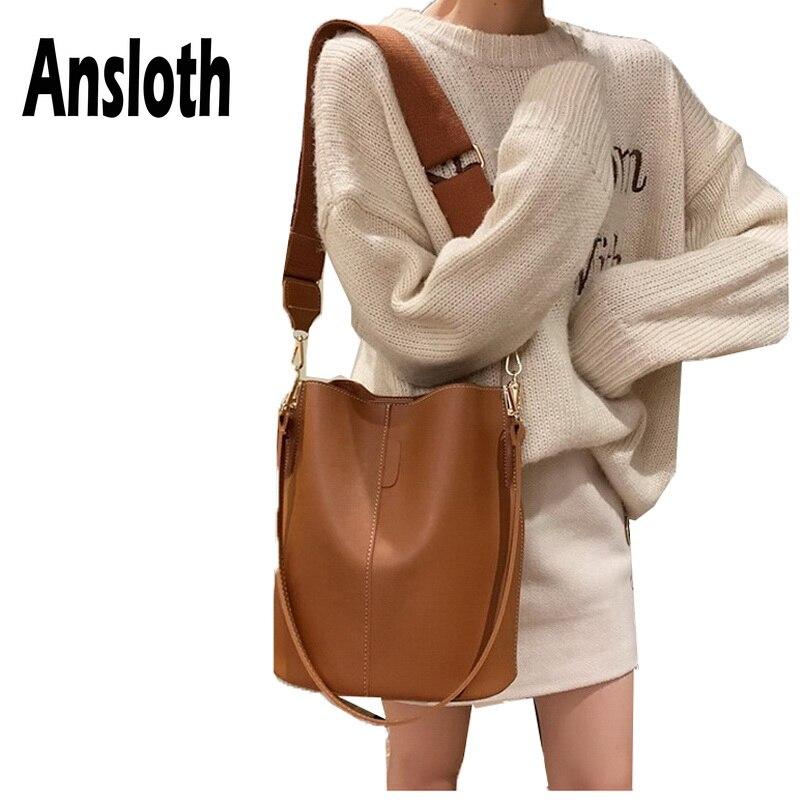 Ansloth Solid Color Shoulder Bag For Women PU Leather Crossbody Bag Lady Luxury Handbag Female Large Capacity Bucket Bag HPS647