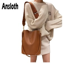 Ansloth Solid Color Shoulder Bag For Women PU Leather Crossbody Lady Luxury Handbag Female Large Capacity Bucket HPS647