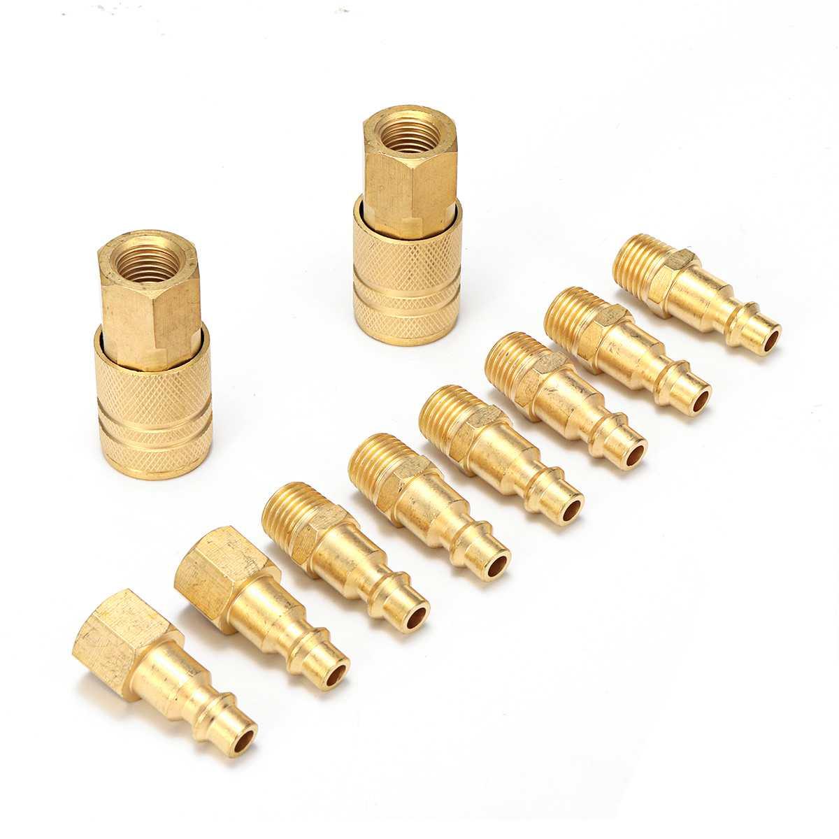10pcs Fitting Air Compressor Hose Quick Couple Air Line Hose Coupling Adapter Connector Quick Coupler 1/4