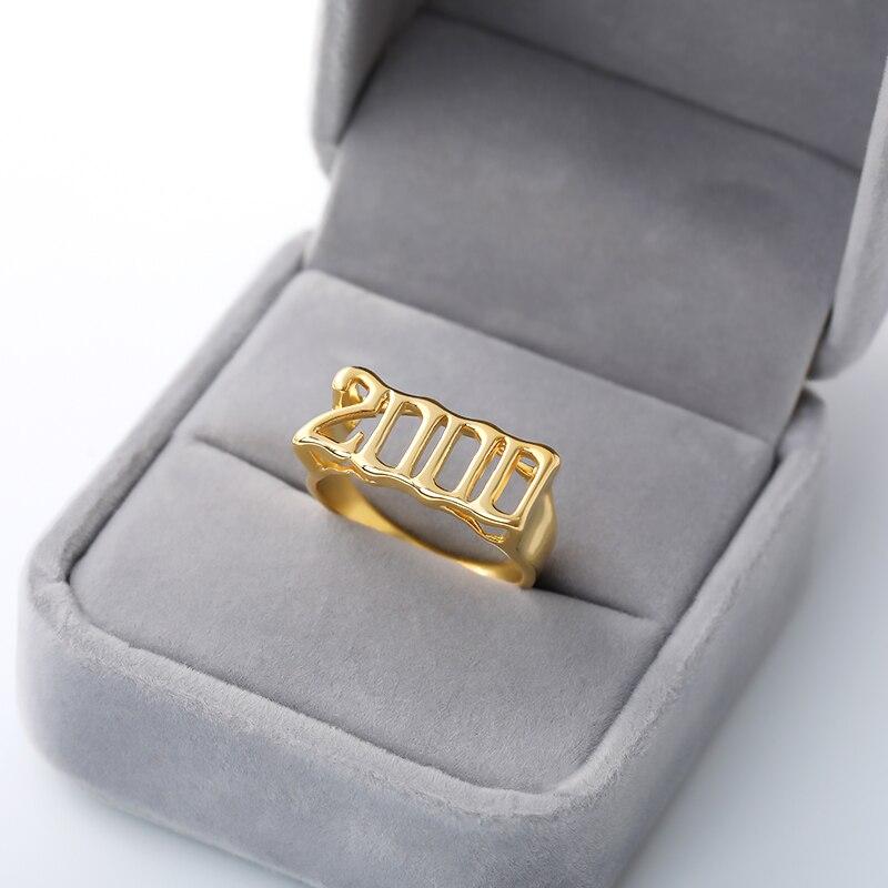 Старое Английское кольцо для женщин, персонализированное кольцо с цифрами, год 1992 1996 1997 1998 anillos, нержавеющая сталь, Индивидуальные Кольца, зо...