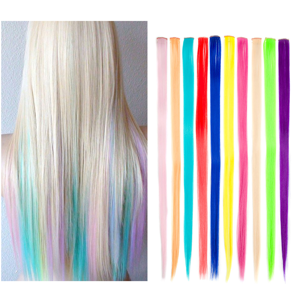 Long Straight Rainbow Hair Clip-In One Piece Ombre Hair Extension Synthetic Colorful Hair Strands In Clip 20 Inch Hair