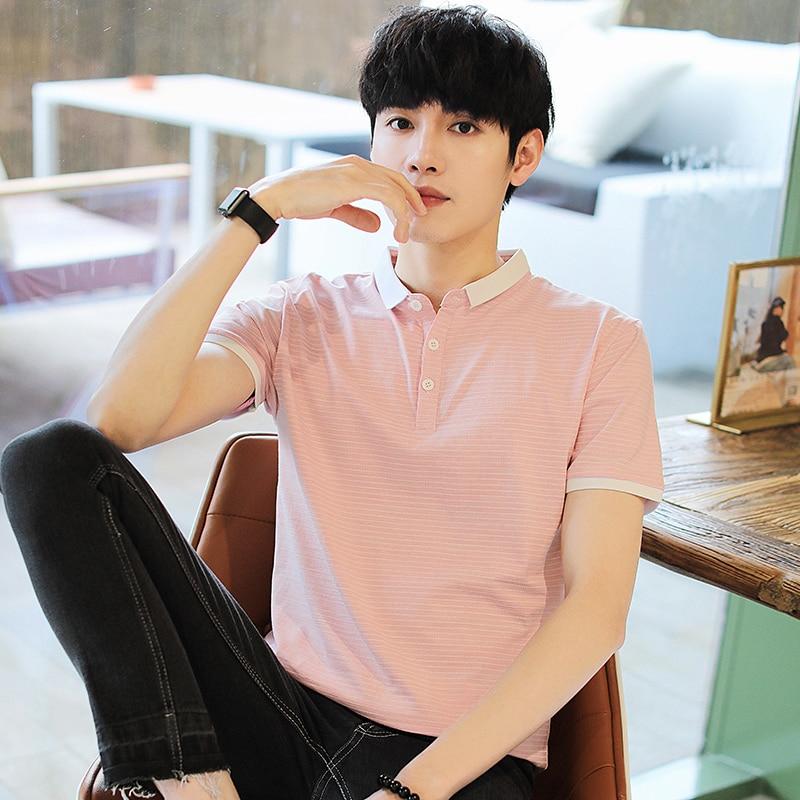 BROWON Summer Men T Shirts 2020 New Casual Short Sleeve Turn-down Collar Stripes Tshirt Men Slim Fit Cotton Top Tees(China)