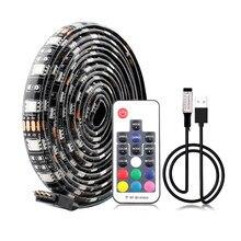 Bande lumineuse RGB bande LED USB 5050, rétro-éclairage étanche de la TV, 60Led/m, 1m, avec télécommande 3 touches 17 touches, 5 V, bande LED USB