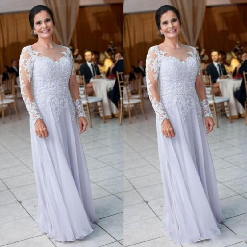 Fashion mother of the bride dresses 2019 sheer neck lace appliques long sleeves evening gowns floor length chiffon prom dress