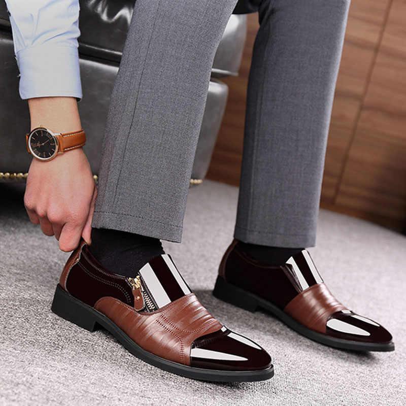 Merkmak Mới Thời Trang Mùa Xuân Oxford Nam Công Sở Da Thật Da Mềm Giày Thoáng Khí Cho Nam Khóa Kéo Cột Dây giày