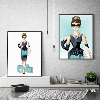 Cartoon Bubble Audrey Hepburn Poster Diamond Blue Lady Shopping Canvas Prints Wall Art Paintings Pictures Living Room Home Decor dazzle butterfly prints diamond paintings