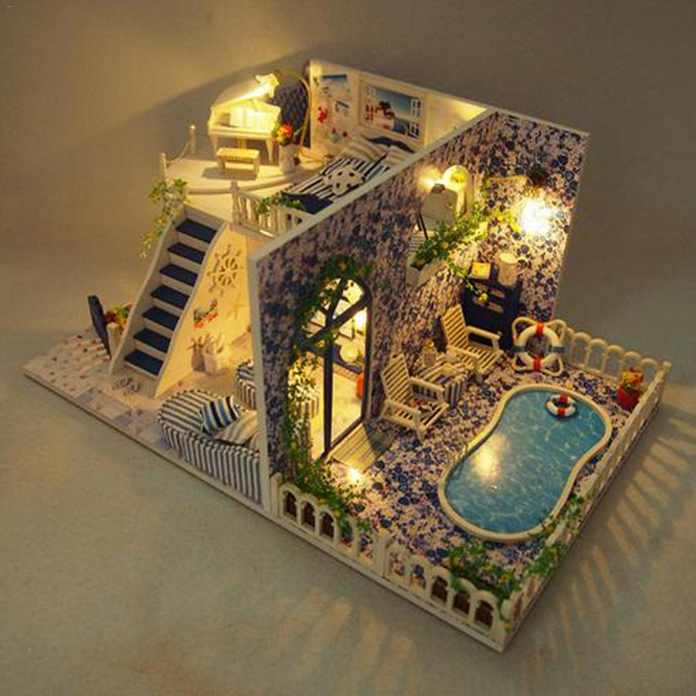 DIY Assembly Villa Cottage Santorini Cabin Vacation With Swim Pool Innovative Birthday Gift Educational Girls Doll Toys