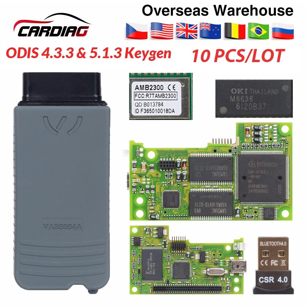10pcs VAS5054 ODIS V4.3.3 keygen Full Chip Original OKI Auto OBD2 Diagnostic Tool VAS 5054A Bluetooth code reader VAS 5054 on